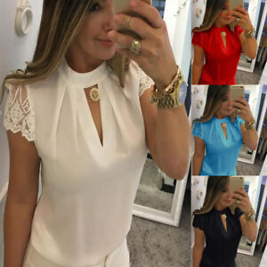 New-Womens-Summer-Short-Sleeve-Chiffon-Lace-OL-Blouse-Tops-Ladies-Casual-T-Shirt