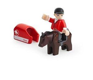 TRAIN EN BOIS BRIO cheval avec chevalier animaux de la ferme 33793 -