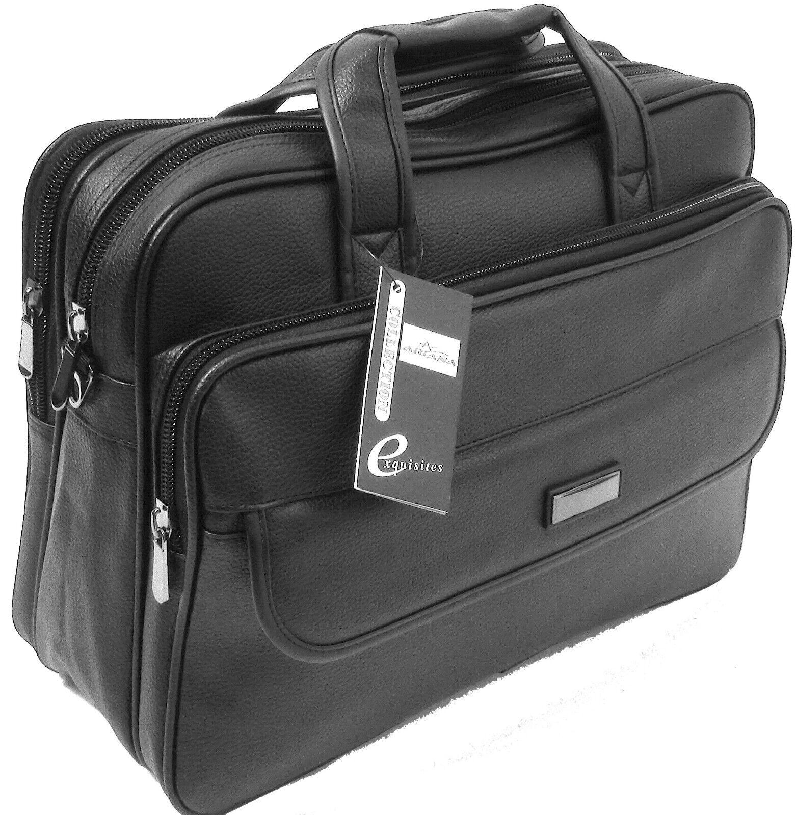 cd5f35e0f7 Mens Black Laptop Bag Messenger Briefcase Business Work Bag Leather Feel  Matt