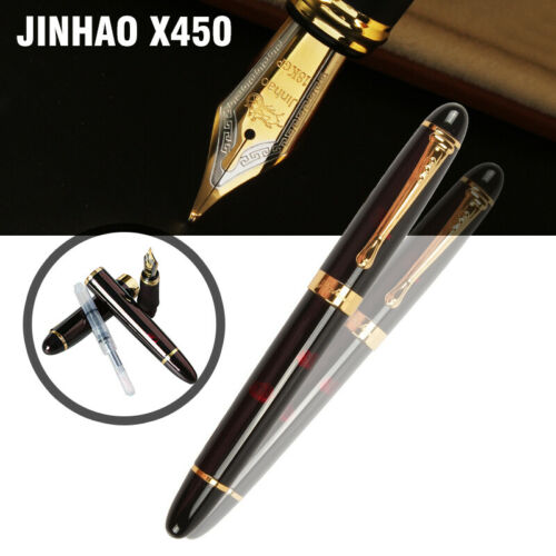 Jinhao X450 0.7mm Nib 18KGP Black with Fireworks Fountain Pen Golden Trim Gift