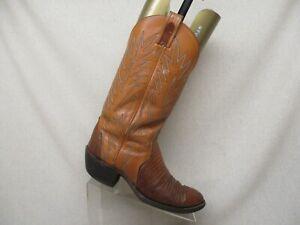 67b86c1b3ca Two Tone Brown Leather Lizard Cowboy Western Boots Mens Size 9 B ...