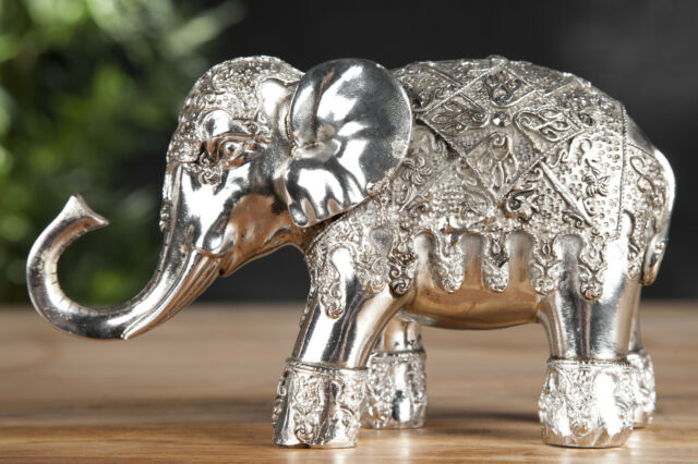 Decor Sculpture Elephant in Silver Size 13cm X 7cm 22cm (HxBxT) New Animal World