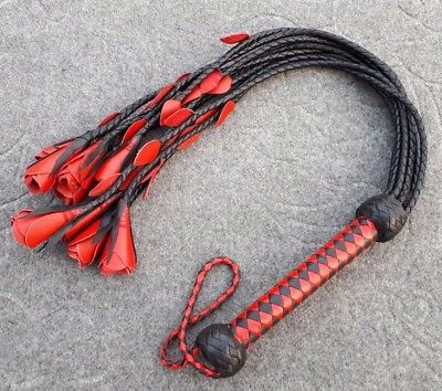 Genuine Cat-O-Nine Tails Suede Leather Flogger Red /& Black Whip