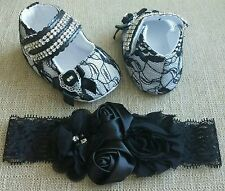 New Baby Girl 0-6 mo All Over Lace Black Shoes And Headband Set Size 1