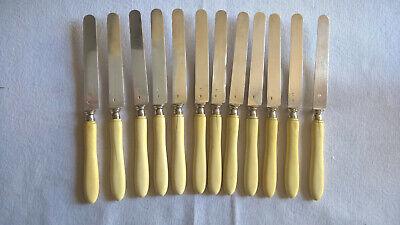12 Couteaux Dessert Lames Argent Minerve Manche MatiÈre Noble Fin Xixe