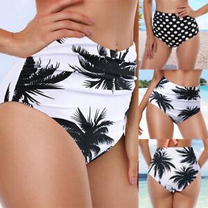 Femme-Maillot-de-Bain-Taille-Haute-Ruche-Floral-Bas-de-Bikini-Slips-Culottes