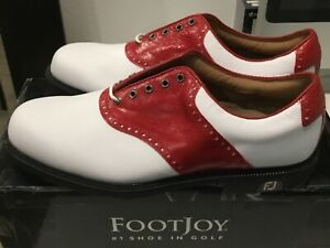 Footjoy-FJ-ICON-white-and-red-saddle-leather-men-039-s-golf-shoes-10M-NEW