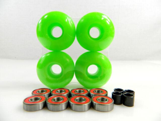 Blank Pro Skateboard 52mm Color Wheels + ABEC 7 Color Bearings + Spacers