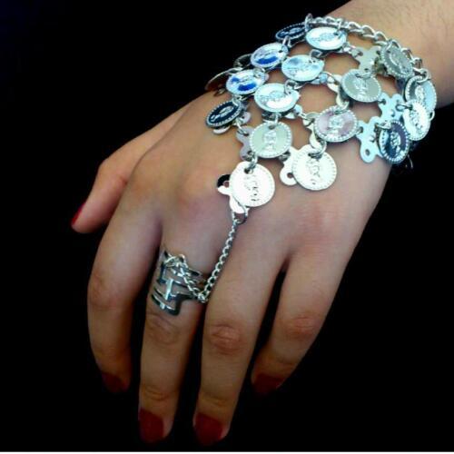 Danza del ventre schiavi Bracciale Mano Gioielli Bracciale con anello Monete Argento Orient