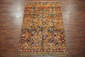 Antique-5X8-Persian-Tribal-Bukhara-Turkoman-Hand-Knotted-Abrash-Wool-5-6-x-8-6