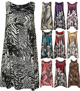 New-Plus-Size-Womens-Sequin-Print-Ladies-Sleeveless-Long-Swing-Vest-Top-14-16