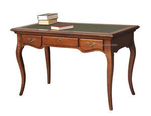Bureau classique bois massif plateau en cuir mobilier de
