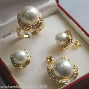 10mm-amp-14mm-White-South-sea-Shell-Pearl-Earrings-Ring-Necklace-Pendant-Set-AA