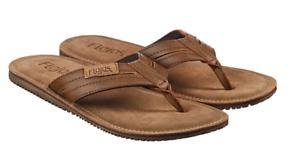 New Flojos Mens  Flip Flop Sandals Suede Cognac Brown