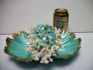 Turquoise-Seashell-Bowl-Shell-Ocean-Beach-House-Decor-Gold-Accents-White-Coral