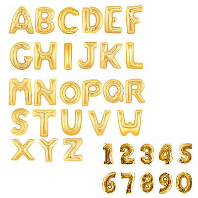 "Gold & Silver 40"" Alphabet Letter Number A-Z Foil Balloons *NAME PARTY WEDDING"