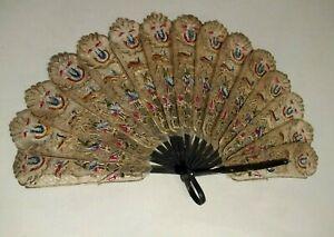 Vintage-Indonesian-Pierced-Hand-Fan-Wayang-Shadow-Puppets-on-Water-Buffalo-Hide