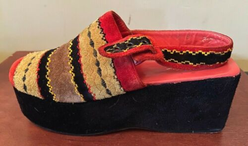 """VTG 60s MOD SUEDE LEATHER  STRAPPY  3""""  HIGH HEEL"""