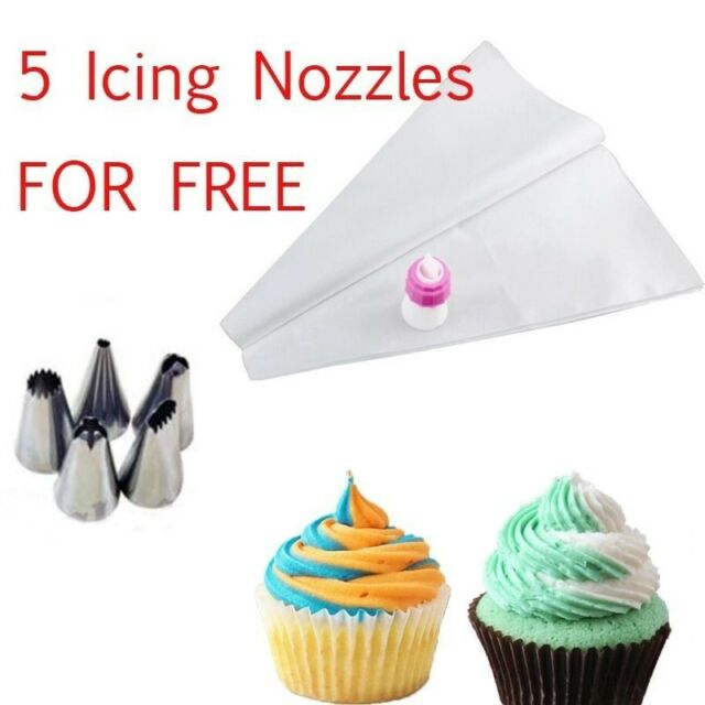 HOT Two tone Color Piping Icing Bag Cake Cookie Cupcake Topper Decorating Nozzle