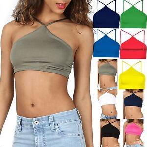 Womens Ladies Plain High Halter Neck Crop Top Cami Strappy Tank Vest Bralet 8-14