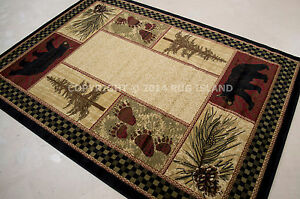 Lodge-Cabin-Rustic-Bear-Pinecone-Black-Green-Brown-Red-Area-Rug-FREE-SHIPPING