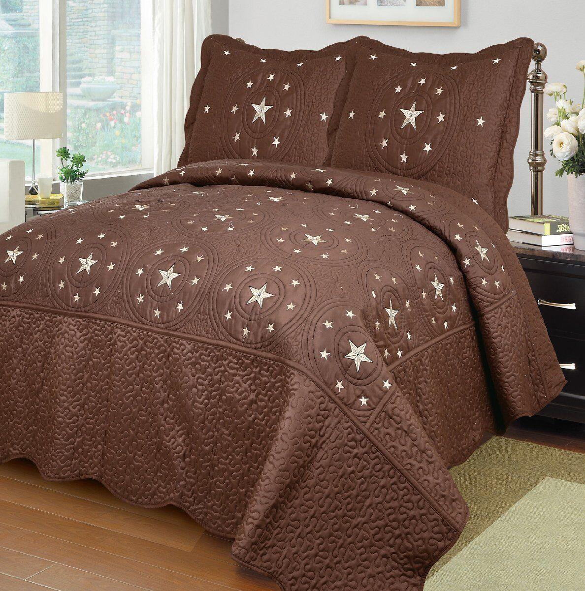 Fancy Linen 3pc braun Texas Star Bedspread Quilt Set Embroidery All Größes New