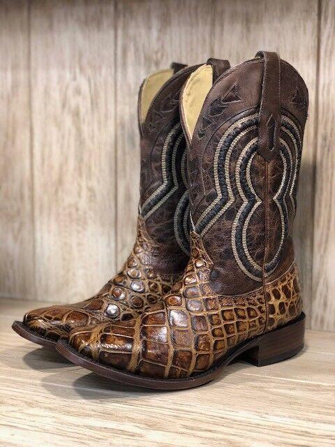 Corral Para Hombre Miel marrón botas occidental dedo del pie cuadrado de cocodrilo A3489