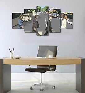 Image Is Loading Large Five Piece The Beatles Crosswalk Canvas Print