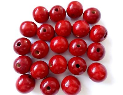 80pcs 20mm WOODEN Large Round Spacer Beads RED B26