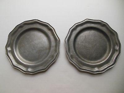 "Vintage Pewter Carson Saucers Renaissance Metalware 7 1/2"" Small Metal Plates"