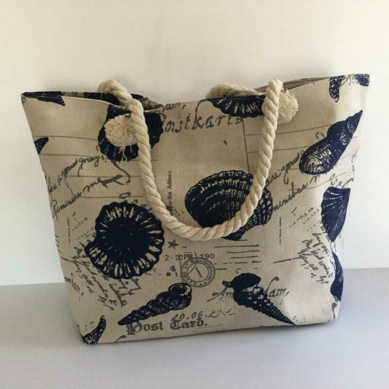 Beach Bag Shopper Tote Beige & Dark Navy Shells Large Rope Handles New