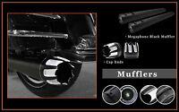 4.5 Megaphone Slid-on Mufflers Black S03 Jet End Caps For Harley Flhtc 1995-13