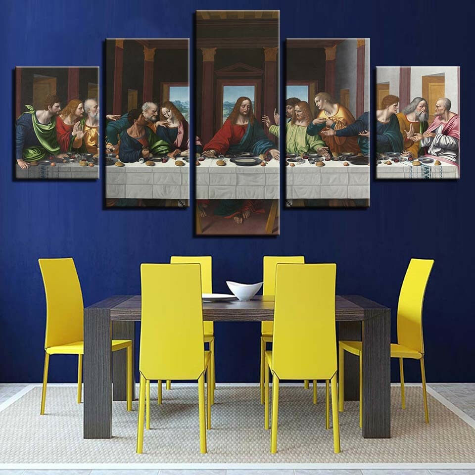 The Last Supper Of Jesus 5 Piece Canvas Print Wall Art