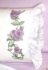 Fairway-Stamped-Cross-Stitch-kit-Pillowcase-Pair-30-034-x-20-034-ROSE-VINE-82628-Sale