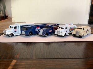 5 small diecast trucks, vintage Pepsi logos