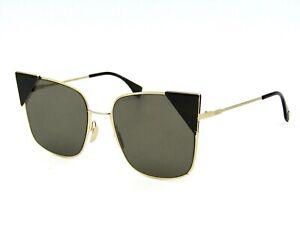 Fendi FF 0191/S Cat Eye Sunglasses, 000-2M Rose Gold Black / Brown. 55mm #32I