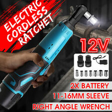 38 Cordless Ratchet Right Angle Wrench Impact Power Tool 2 Battery 7 Socket