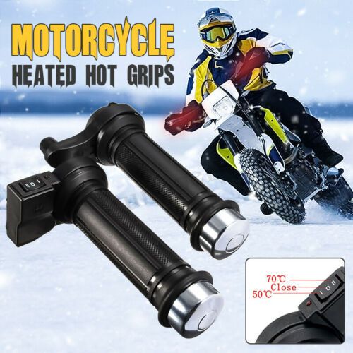 22mm 7//8/'/' 12V Motorcycle Bike Heated Grips Handlebar Warm Winter Heater 50°-70°