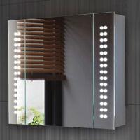 Led Illuminated Wall Mount Mirror Cabinet Storage Cupboard Shelf Demister Sensor