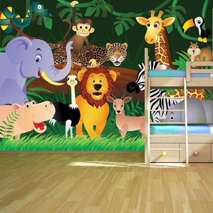 Dschungel Tiere Wandbild Löwe Foto-Tapete Kinderzimmer Kinderzimmer Wohnkultur