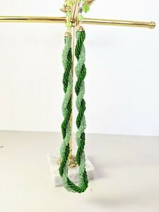 Vintage-Heavy-Multi-Strand-Green-Seed-GLASS-Beaded-Twist-Rope-Necklace