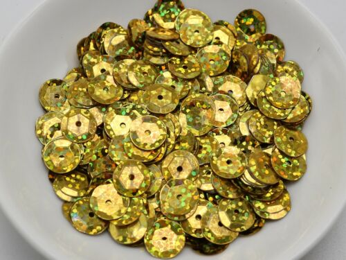 2000 Gold Hologram 10mm CUP round loose sequins Paillette sewing Wedding craft