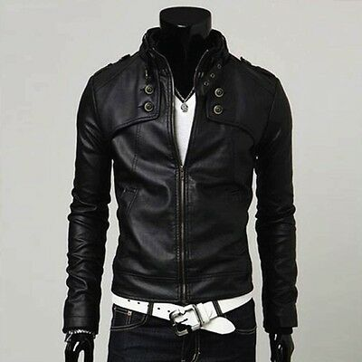 Men Cool Biker Jacket Boy Fashion Slim Fit Synthetic Leather Luxury Short Coats