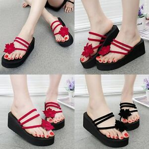 a9a1dd97d97 Summer Women s Beach High Heel Wedge Platform Flip Flops Sandal ...