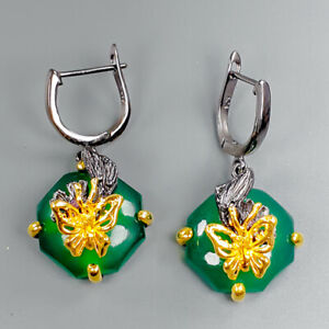 Handmade-SET21ct-Natural-Onyx-925-Sterling-Silver-Earrings-E34712