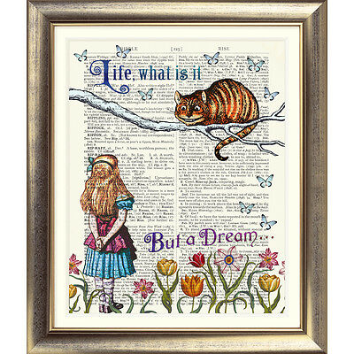 ART PRINT ORIGINAL ANTIQUE BOOK PAGE DICTIONARY Alice in Wonderland Cheshire Cat