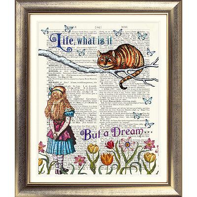 ART PRINT ORIGINAL ANTIQUE BOOK PAGE DICTIONARY Alice in Wonderland Cheshire Cat