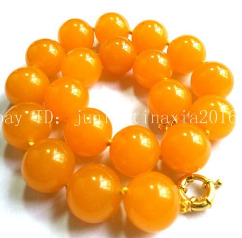New Huge 20mm Yellow Topaz Gemstone Round Necklace Beads 18/'/'