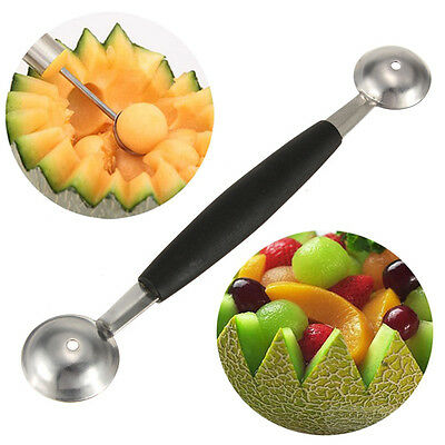 Stainless Steel Fruit Ice Cream Scoop Spoon Baller Melon Carving Cutter Dual