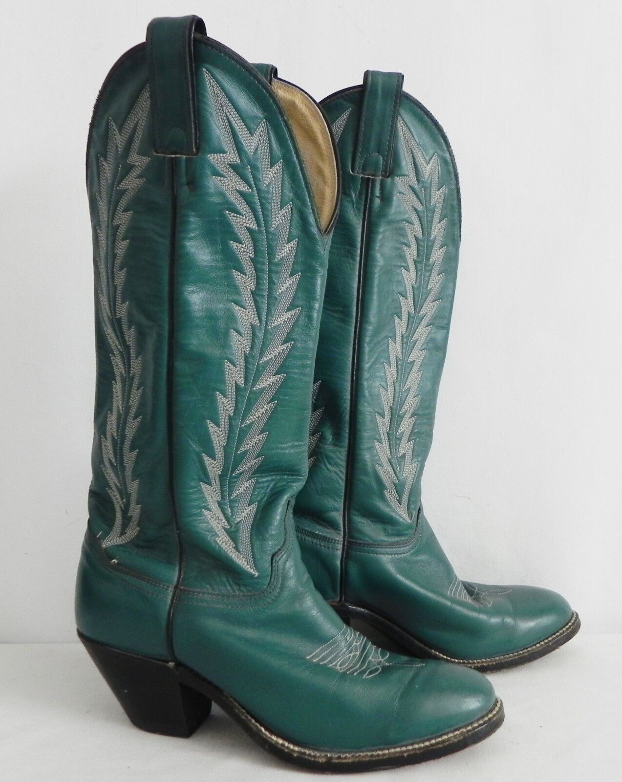 Abilene Boots Western Green Leather 2  Heel Size 6.5M